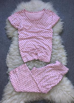 Натуральная пижама домашний костюм набор горох вискоза бриджи