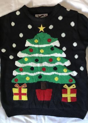 Зимний новогодний свитр теплый детский на мальчика или девочку