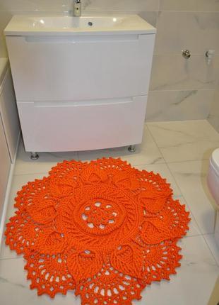 Ковер интерьерный handmade ø 1 м цвет апельсин