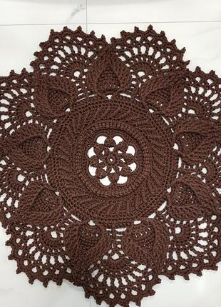 Ковер интерьерный handmade ø 1 м цвет шоколад