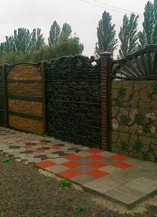 Установка бетонных заборов из плит