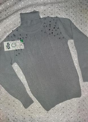 Гольф свитер серый на девочку mizgiн 122р