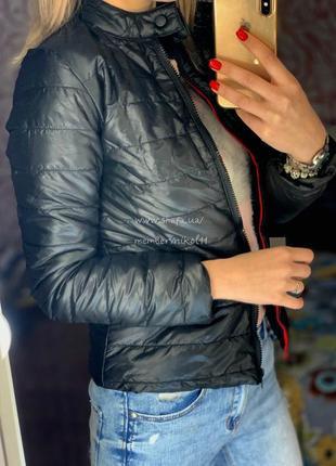 Стильная черная тонкая куртка с воротником стойкой🔥 демисезон