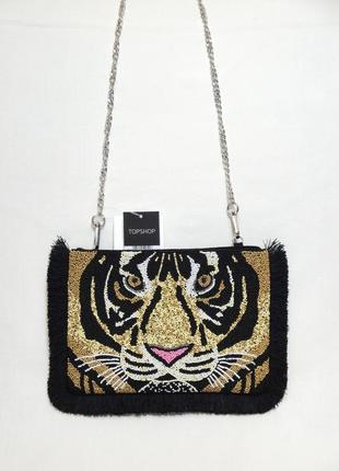 Topshop новая эффектная вышитая бисером женская сумка кросс-бо...