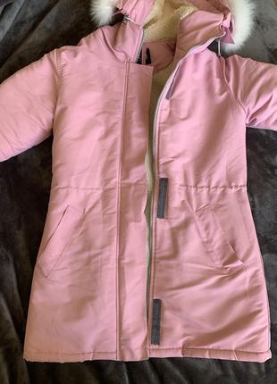 Зимова жіноча куртка, овчина, парка овечья шерсть, зимнее паль...