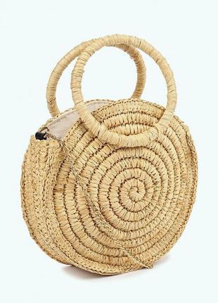 Mango новая стильная круглая плетеная из рафии женская сумка н...