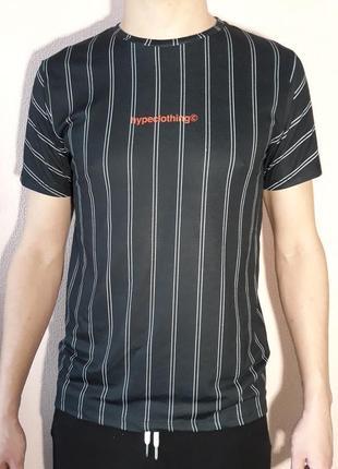 В наличии футболка для спорта чёрная в белую полоску, оригинал