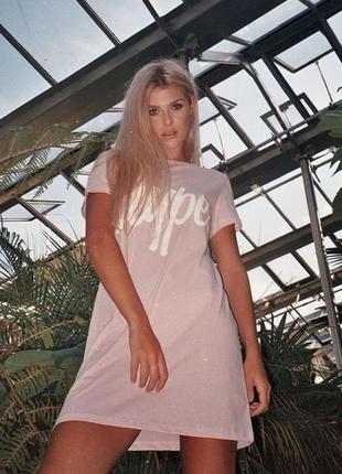 Платье, футболка удлинённая, принт hype