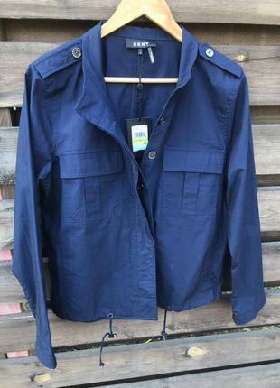 Легкая куртка donna karan ветровка синяя dkny оригинал хлопок ...