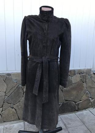 Стильный замшевый плащ пальто классика базовый