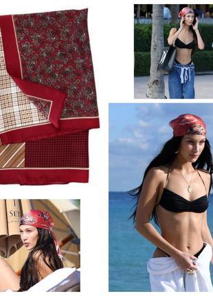 Яркий красный платок бандана косынка топ шелк армани повязка под