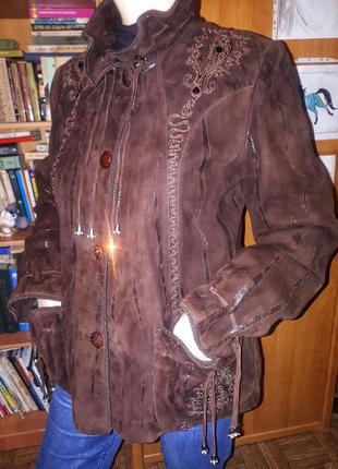Замшевая куртка коричневая размер l темный шоколад