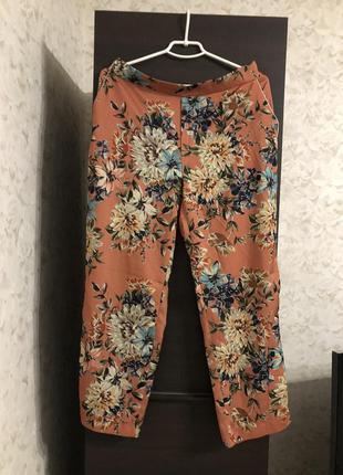 Атласные брюки цветы zara!