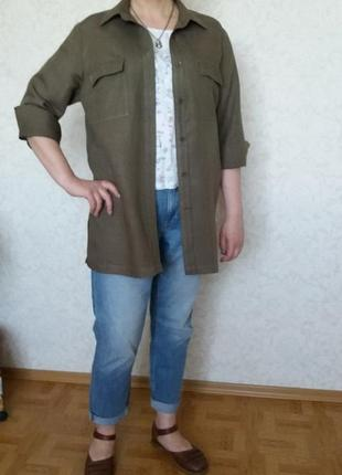 Модная рубашка кардиган JOY, Британия, лен, вискоза
