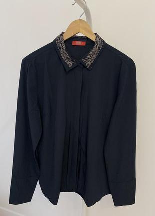 Рубашка сорочка в стиле zara темно синяя
