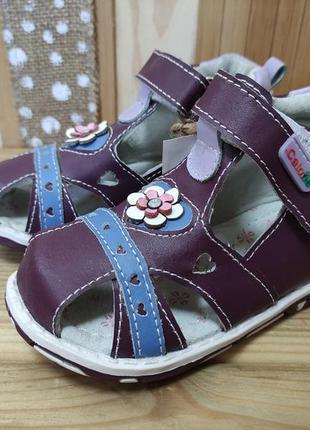 Шкіряні босоніжки фіолетові - летняя обувь распродажа