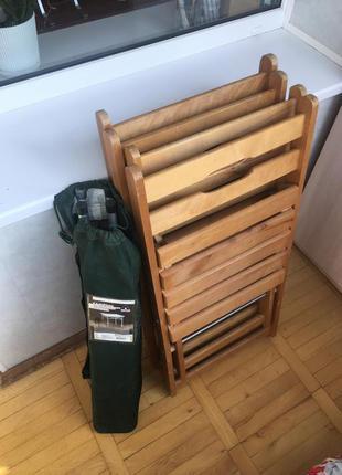 Складной стул и деревянные складные стулья для кемпинга (4 штуки)