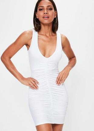 Ликвидация товара 🔥    белое мини платье без рукавов с рюшами ...