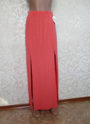 Длинная трикотажная юбка с разрезами