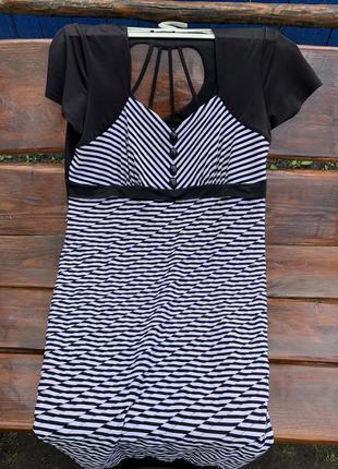 Платье в полоску, черно белое платье