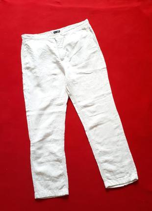 Льняные штаны натурального цвета большого размера р xxl john...