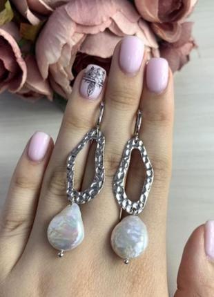 Серебряные серьги silverbreeze с натуральным жемчугом барочным...