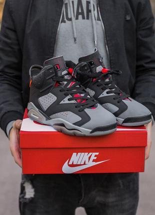 Мужские кроссовки nike air jordan retro 6 black grey наложка