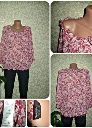 Легкая блуза в цветы ,р.18