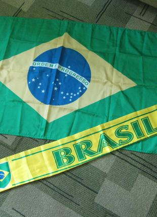 флаг и шарфик сборной Бразилии по футболу, комплект
