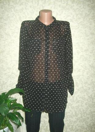 Шифоновая удлиненная блуза в сердечки