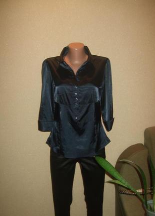 Темно синяя рубашка блуза ,классика