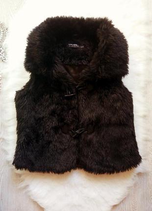 Черная искусственная короткая меховая жилетка накидка теплая б...