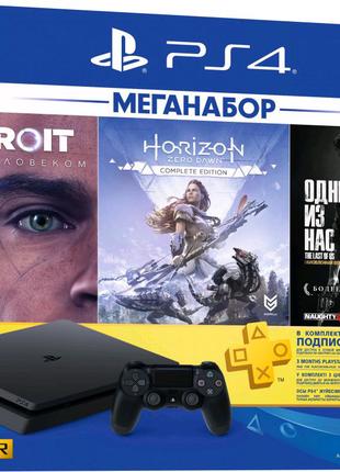 PlayStation 4 Slim 1TB, + аккаунт с играми и диски.
