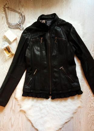 Черная куртка кожанка косуха кожзам с вязанным ажурным низом в...