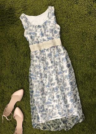 Плаття літнє сукня довга платье легкое белое голубое xs/s