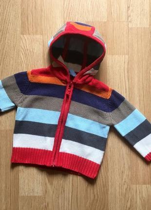 Детский вязаный свитер, худи, толстовка на молнии для мальчика...