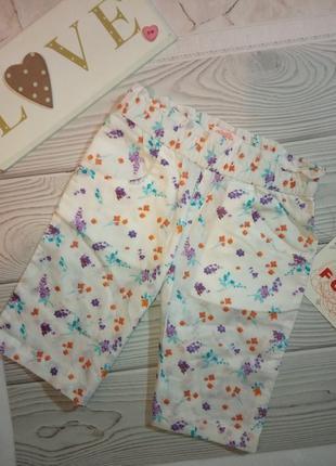 Легкие летние шорты бриджи для девочек белые цветочный принт