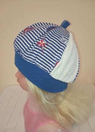 Легкий летний чепчик шапочка трикотаж в морском стиле