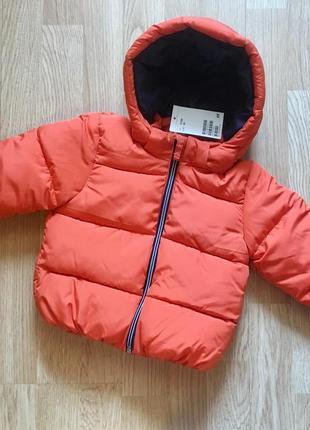 Утепленная курточка, куртка для мальчика h&m, размер 9-12м, 80