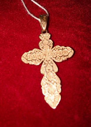 Золотой крестик из красного золота 585 пробы