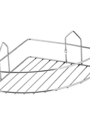 Полочка для ванной комнаты угловая решетка одинарная SW хром