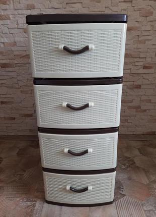 Комод, пластиковый, Efe Plastics, кор-беж, 4 ящика