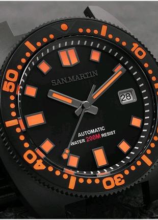 Часы дайверы San Martin Black Warrior хомаж Seiko 6105 Turtle