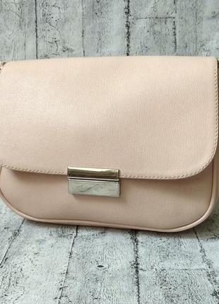 Красивая кожаная сумочка кроссбоди, пудровый цвет