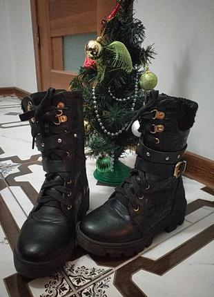 Зимние сапоги на шнуровке