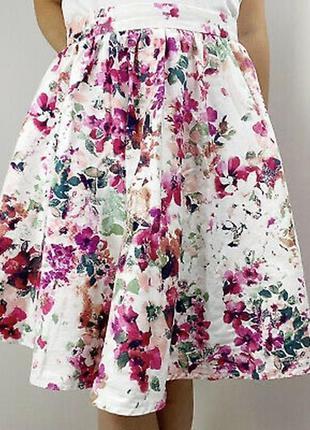 Романтическая юбка-клеш,мягкие складки,цветочный принт,хлопок,...
