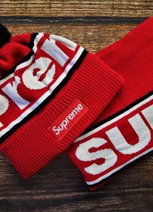 Брендовые комплекты (шапка + бафф ) Supreme
