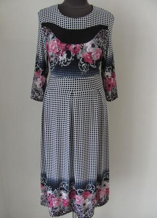 Платье весна-лето, юбка клешь, вставка сетка, длина за колено,...