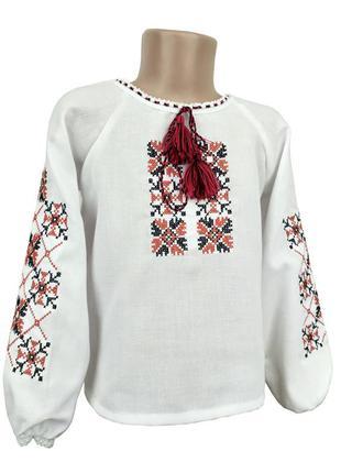 Вишита блуза для дівчинки на довгий рукав з домотканого полотна