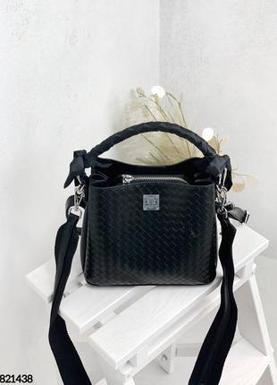 🔥 стильная плетеная кожаная сумка мешочек с платком